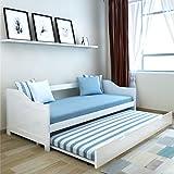 Sofabett 200 x 90 cm Ausziehsofa Weiß Schlafcouch aus Pinienholz