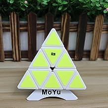 MoYu Pyraminx velocidad Puzzle Cubo Cubo magico triangulo piramide velocidad giro de Puzzle Toy + uno personalizado trípode (blanco)