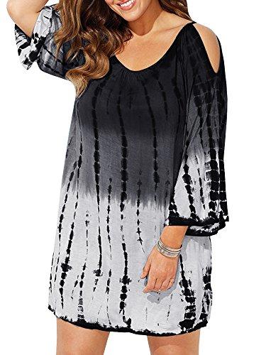 Ybenlow Damen Badeanzug Übergröße Übergröße Cold Shoulder Tie Dye Baggy Badeanzug Strand Kleid T-Shirt - schwarz - X-Large (Passt Mögen 40 DE/42 DE) -