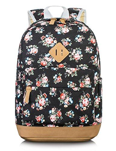 Leaper Retro-Look canvas Rucksack mit Blumen kinderrucksack mädchen schulrucksack für Schule Uni Freizeit (Large,Blumen Schwarz) (Blumen-mädchen-rucksack)