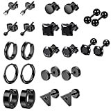 12 Pairs Black Earrings Studs, Stainless Steel CZ Studs Cartilage Earrings Hoops Barbell Ear Plugs Ear Piercing Triangle Screw Studs Earrings Endless Round Huggie Hoop Earrings for Men