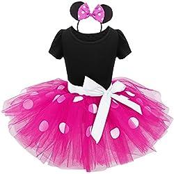 dPois Vestidos de Princesa Diadema Niña Bebé Fiesta Bautizo Tutú Ballet Danza Falda Lunares Bragas Disfraces Fantasía Carnaval Cumpleaños Infantil (6 Meses - 14 Años) Rosa 2 pc 5Años