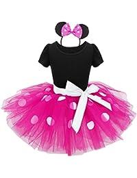 iEFiEL Vestidos de Princesa Fiesta Bautizo Tutú con Braga Interior Disfraces para Bebés Niñas (12 Meses a 8 Años)