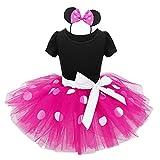 Agoky Mädchen Polka Dots Tutu Kleid mit Ohren Haarreif Kinder Fasching Karnevals Kostüm Party Outfits Verkleidung gr 80-128 pink weiß gepunktet 80/12 Monate