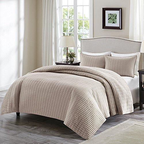 Comfort Spaces Kienna 3 Piece Quilt Coverlet Bedspread Ultra Soft Hypoallergenic Microfiber Stitched Bedding Set Full/Queen Size Taupe