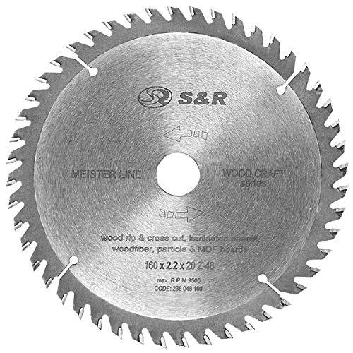 "S&R Kreissägeblatt 160mm x 20mm x 2,2 mm\""Wood Craft\"" Reduzierring 16mm, Sägeblatt für Holz in Profiqualität (48 Sägezähne)"