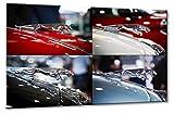 Bild auf Leinwand Pop Art Jaguar Größe: 70cm x 105cm | Jaguar Kühlerfigur Sammlung Oldtimer | Aus der Serie Formen und Farben der Klassiker | Farbe: bunt | Rubrik: Cars + Auto Bilder