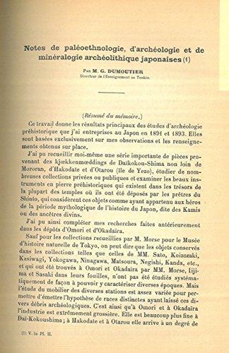 Note de paleoethnologie, d'archeologie et de mineralogie archeolothique japonaise. par DUMOUTIER G. -