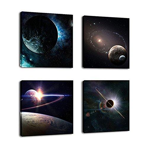 bdrsjdsb 4 Stücke Universum Planeten DIY Wand Dekorative Malerei Office Home Ornament 30 cm x 30 cm -