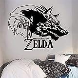 zhuziji Zelda Legend Boy Wolf Applique Sticker Skull Kid Videojuego Sala de Vinilo de Dibujos Animados Etiqueta Linda de la Pared Stick 116x154cm