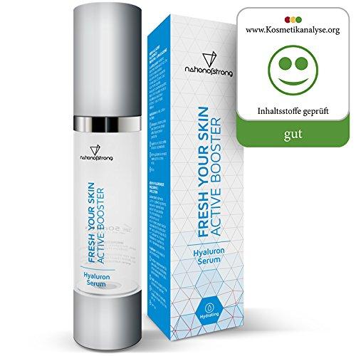 Hyaluronsäure Serum hochdosiert | nur 4 (!) Inhaltsstoffe - sonst nichts! | 50ml Feuchtigkeitsserum Fresh Your Skin | vegane Bio-Qualität | Anti-Falten-Gel | reine Gesichtspflege für jede Haut