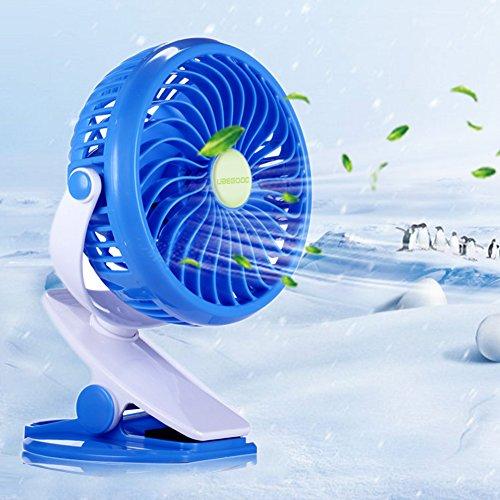 Ventilador Clip,Ubegood Mini USB Ventilador Porttil y Silencioso Ventilador de Mesa 360 Grados de Rotacin Ventilador (Azul)