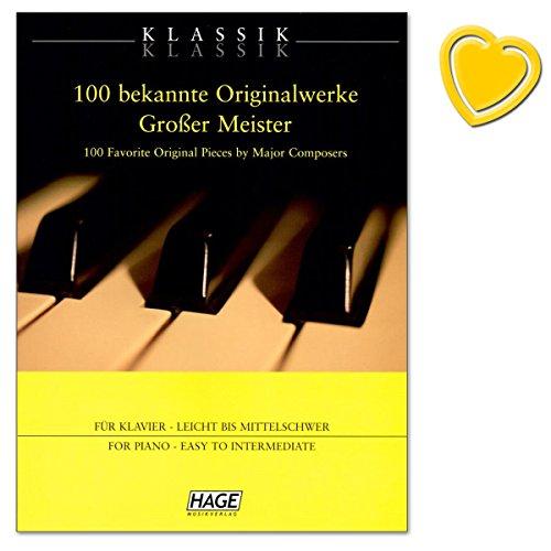 100 bekannte Originalwerke großer Meister - für Schüler, Erwachsene, Wiedereinsteiger und Liebhaber der klassischen Musik - Notenbuch mit bunter herzförmiger Notenklammer