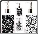 Venezianische Seifenspender Aus Keramik, Schwarz Und Weiß von Hand Bemalt in Großbritannien) Venetian Black