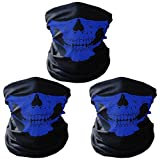 3 x Premium multifunción Bandana | Braga | | paño de manguera | Pañuelo con calavera de esqueleto Máscaras para moto bicicleta Esquí Paintball Gamer Carnaval Disfraz Calavera Máscara … (3 blue)