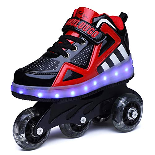 Ufatansy Unisex Kinder Leuchten Charge Schuhe Roller Inline SkateAbnehmbar Werden Sport-Sneaker LED Schuhe Für Mädchen Jungen Geschenk (35 EU, A- Black Red)