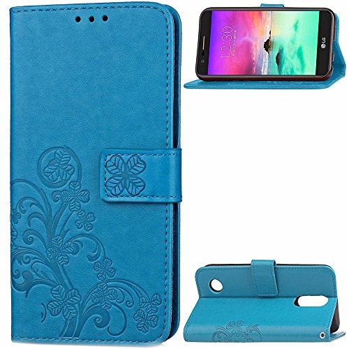 Double Magnetic Back Sucktion Retro Style PU Leder Flip Stand Case mit Kickstand und Wallet Beutel Funktion für LG K4 (2017) ( Color : Gray ) Blue