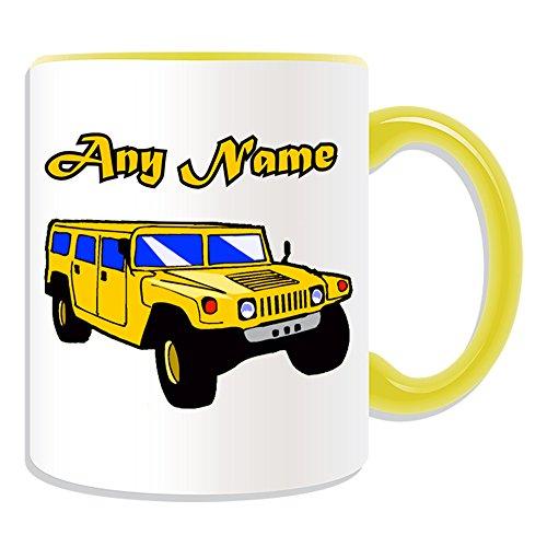 Regalo personalizzato Hummer-Tazza, tema: Mezzi di Trasporto, colori)-Qualsiasi nome/Messaggio sul tuo unico, Jeep SUV veicolo automobile driver camion H1H2H3HX Humvee gm sono generale ad alta mobilità multiuso con ruote veicolo HMMWV Fuoristrada, Ceramica, Yellow