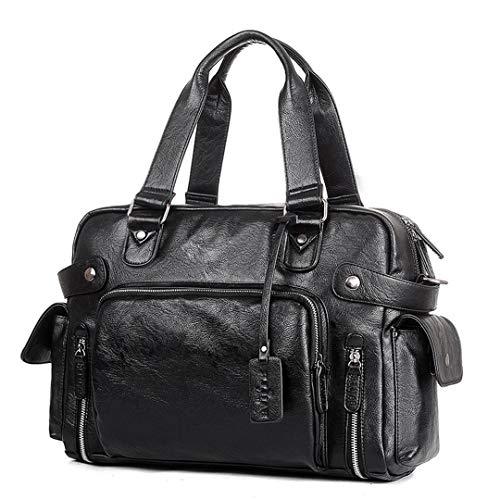 Lederhandtaschen Männer Casual Tote Für Männer Tragbare Umhängetaschen mit großer Kapazität Groß Black