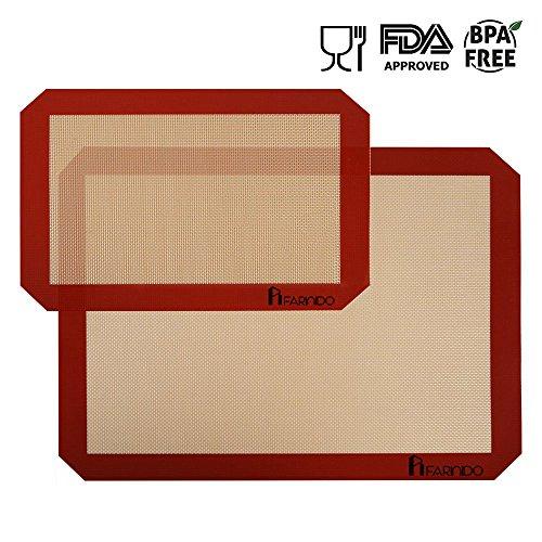 Silikon Backmatte Silikonmatte Dauerbackfolie Backunterlage Antihaftbeschichtet, Haltbare Backfolie Backunterlage, Ausrollmatte, BPA frei [2 Stück]
