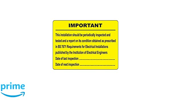 Pack of 100 100 mm x 75 mm Caledonia Signs 59584 Periodic Inspection Labels
