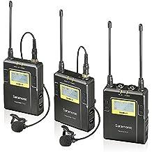Saramonic Uwmic9 Sistema de Micrófono Inalámbrico Digital UHF de Solapa con 96-Canales con 2 Transmisores de Bolsillo, Receptor Portátil, 2 Mics de Solapa para DSLR y cámara de video