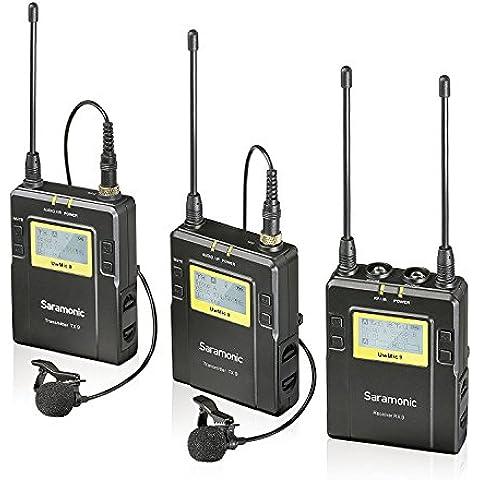 Saramonic Uwmic9 Sistema de Micrófono Inalámbrico Digital UHF de Solapa con 96-Canales con 2 Transmisores de Bolsillo, Receptor Portátil, 2 Mics de Solapa para DSLR y cámara de