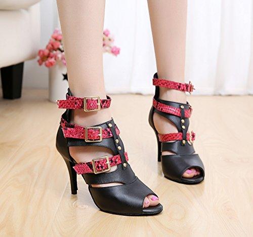 Minitoo QJ6178 Sangle en cuir avec boucle pour femme Cheville écoles de danse latine chaussures red