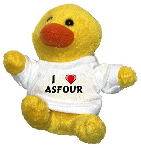 Preisvergleich Produktbild Plüsch Hähnchen Schlüsselhalter mit einem T-shirt mit Aufschrift mit Ich liebe Asfour (Vorname/Zuname/Spitzname)