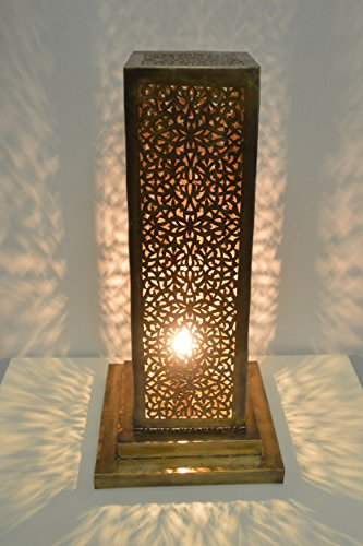Hand pierced Fret Sawing rectangular Moroccan antique brass solid copper table lamp - L14 H35 D14 cm -