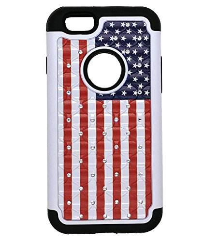 iPhone 6 Hülle, iPhone 6S Schutzhülle, USA American Flag Nieten Strass Bling Hybrid zweilagige Stoßdämpfung Anti Scratch Schutzhülle für iPhone 6/6S Bling Strass
