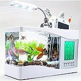 Viktion USB mini Aquarium Beleuchtetes Panorama-Aquarium komplett für kleine Fische (weiß)