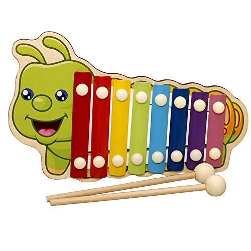 12shage Xylophon Musikinstrumente Kinder - Holz 8 Anmerkung Metallschlüssel Glockenspiel für Kinder Pädagogische Musikspielzeug Jungen und Mädchen (B)