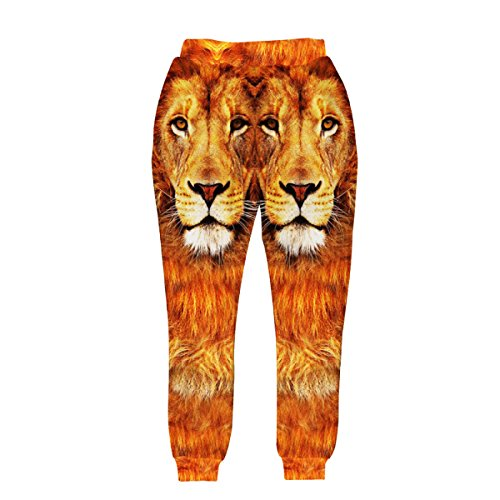 Löwen Camo (Herren Jungs Männer Streetstyle Slim War Dünn Outdoor-Sport Digitaldruck 3D-Löwen-Muster Komfort Yoga Hosen Unterhosen Leggings,AsShown-S)
