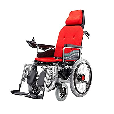 GYH Electric Wheelchair, Wheelchair for The Elderly, Four-Wheeled Wheelchair, Folding and Reclining, Load 100kg, EPBS Brake System (#)