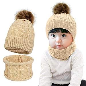 Tuopuda Sombrero para Niños Y Niñas Bufanda Conjunto Slouchy Invierno Grueso Bebe Beanie Gorros con Pompon Y Bufanda de… 6