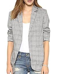 Tailloday para mujer moda OL solapa Plaid Traje de Color gris Blazer chaqueta de bolsillo