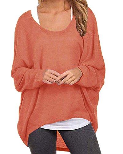 ZANZEA Damen Lose Asymmetrisch Jumper Sweatshirt Pullover Bluse Oberteile Oversize Tops Orange EU 46/Etikettgröße XL