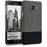 kwmobile Étui rigide housse en toile pour Samsung Galaxy A3 (2016) avec applications en cuir synthétique - coque verso étui housse de protection cover en gris noir