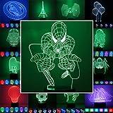 3D Lampe 3D Leuchte 3D LED Stimmungslicht. 7 verschiedene Farben wählbar - Auswahl aus 81 verschiedenen Motiven, hier Spider Man ca.22x14cm inkl.Sockel - 3D Illusion Dekolicht mit USB Anschluß und 220V USB Netzteil