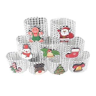 Amosfun 9 Piezas Anillos de Servilletas de Navidad Servilletero de Fiesta con Papá Noel Ciervo Campana Decoración de Mesa de Navidad Boda Cumpleaños