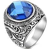 OIDEA Edelstahl Ringe Silber für Herren Damen, Klassiker Retro Charm Künstlicher Blau Steine Edelstahlring Herrenring Ringgrößen 67 (21.3)