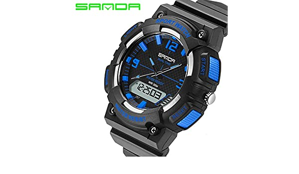 fea3a853ebf Buy Sanda Luxury Relogio Digital Electronic Shockproof Waterproof Wrist  Watch for Men - Black and Blue Online at Low Prices in India - Amazon.in