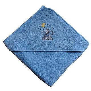 Arle-Living® Baby Kleinkinder Kapuzen-Handtuch bestickt mit Elefant Motiv Blau 100x100 cm Frottee Baumwolle (Blau)