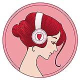 Wandtattoo Musik Wandsticker Musikerin mit Kopfhörern in roten und pinken Nuanc
