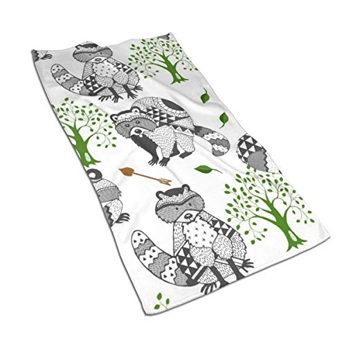 Osmykqe Raccoon Tree Arrow Tribal Kitchen Towels - Dish Cloth - Machine Washable Cotton Kitchen Dishcloths,Dish Towel & Tea Towels for Drying,Cleaning,Cooking,Baking