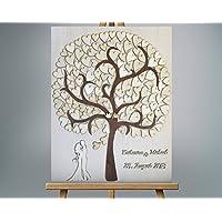 40x50 cm 3D Holz Echtholz Hochzeitsgästebuch mit Holzherzen Hochzeitsbaum Wooden Wedding Tree Gästealbum Hochzeitsalbum Gästebuch aus Holz
