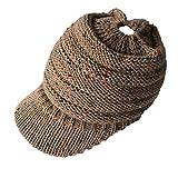 AIni Damen Wintermütze im Freien Gestrickte Hüte Häkeln Multicolor Knit Hip-Hop Cap für Pferdeschwanz Brötchen (Khaki)
