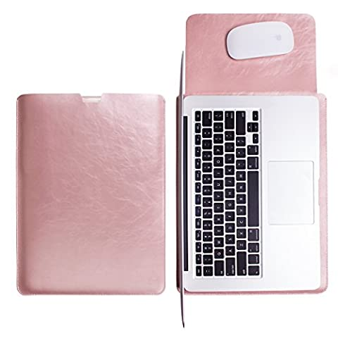 WALNEW Sleek Leather MacBook Air 13 Inch Protective Soft Sleeve Case Cover Macbook Pro retina 13 inch Carry Bag holder with safe interior and exterior mouse pad, Rose Gold by