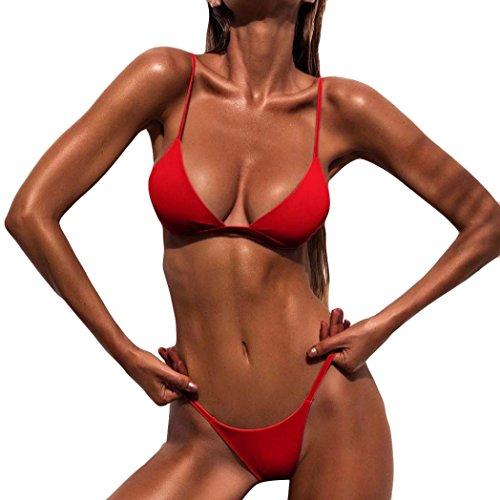 Bekleidung AMUSTER Hot Sale Damen Frauen Sexy Bikini Push-Up gepolsterte BH Beach Bikini Set Badeanzug Bademode Bikini Bademode Damen Bikini Set Badebekleidung (L, Rot)